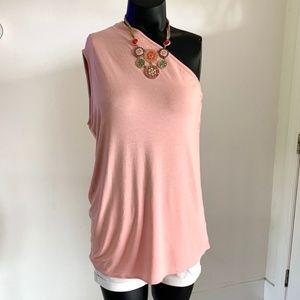 Aritzia Babaton One Shoulder Rose Pink Tank